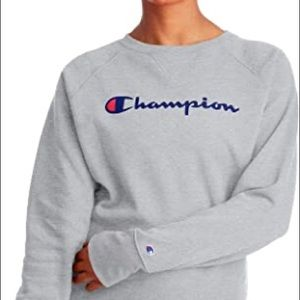 Champion Pullover Crewneck Sweater in Grey